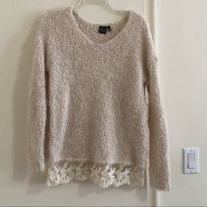 SAKS FIFTH AVENUE sweater with lace bottom